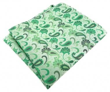 TigerTie Designer Einstecktuch in grün grasgrün anthrazit Paisley gemustert