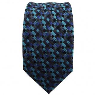 Schmale TigerTie Krawatte türkis blau schwarz anthrazit grau gemustert - Binder - Vorschau 2