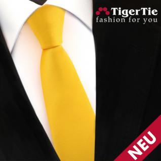 Schmale TigerTie Satin Krawatte gelb maisgelb Uni - Schlips Binder Tie