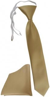 TigerTie Kinderkrawatte + Einstecktuch dunkelgold Uni - vorgebunden mit Gummizug
