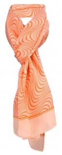 TigerTie Satin Schal in orange lachs Wellenmuster - 100% Seide - Gr. 35 x 160 cm