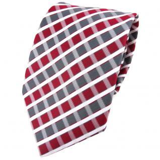 TigerTie Designer Krawatte in weinrot grau silber weiss gestreift - Tie Binder