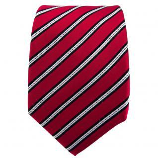Enrico Sarto Seidenkrawatte rot schwarz silber gestreift - Krawatte Seide Tie - Vorschau 2