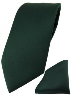 TigerTie Designer Krawatte + TigerTie Einstecktuch in dunkelgrün einfarbig uni