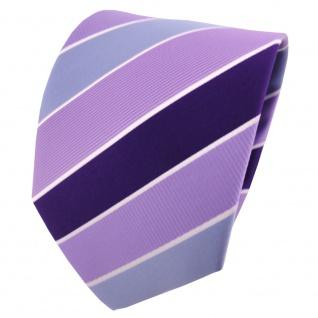 schöne TigerTie Designer Krawatte lila flieder blau silberweiß gestreift