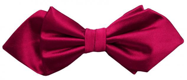 Schmale Satin Seidenfliege rot dunkelrot Uni fein gerippt - Fliege Seide Silk
