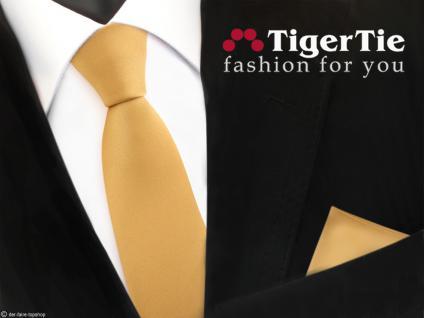 schmale TigerTie Satin Krawatte + Einstecktuch gold Uni - Schlips Binder