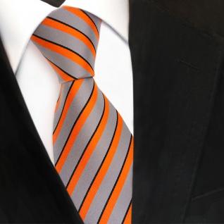 TigerTie Designer Seidenkrawatte orange grau schwarz gestreift - Krawatte Seide - Vorschau 3