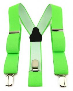 TigerTie Unisex Hosenträger mit 3 extra starken Clips - neongrün einfarbig Uni