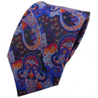 TigerTie Krawatte blau dunkelblau orange rot Paisley - Binder Tie Schlips