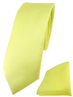 schmale TigerTie Designer Krawatte + Einstecktuch in zitronengelb einfarbig uni