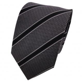 TigerTie Seidenkrawatte anthrazit grau schwarz gestreift - Krawatte Seide Binder