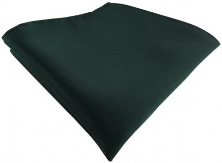 TigerTie Satin Einstecktuch in dunkelgrün einfarbig Uni - Größe 26 x 26 cm