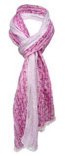 gecrashter Schal in rosa pink weiß gemustert mit Spitze - Gr. 180 x 50 cm