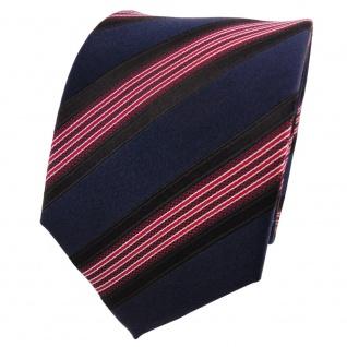 Designer Seidenkrawatte rot blau royal schwarz silber gestreift - Krawatte Seide