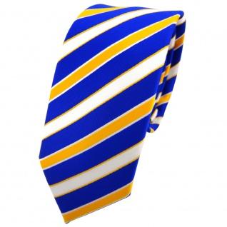 Schmale TigerTie Krawatte blau royal gelb sonnengelb weiß gestreift - Binder Tie