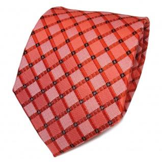 TigerTie Seidenkrawatte orange reinorange silber kariert - Krawatte Seide Tie