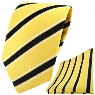 TigerTie Designer Krawatte + Einstecktuch in gelb schwarz weiß gestreift