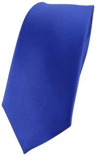 schmale TigerTie Designer Seidenkrawatte in Satin blau - Krawatte 100% Seide