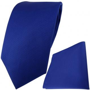 TigerTie Designer Krawatte + Einstecktuch in royal blau einfarbig uni Rips