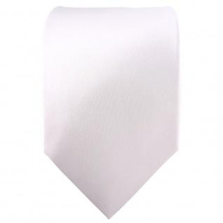 TigerTie Satin Seidenkrawatte in weiss einfarbig Uni - Krawatte 100% Seide - Vorschau 2