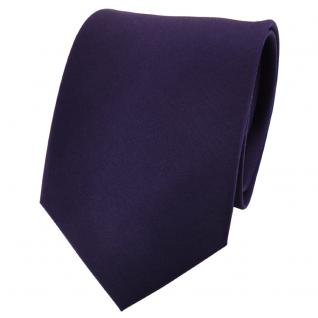 TigerTie Satin Seidenkrawatte lila dunkellila einfarbig - Krawatte Seide Tie