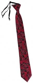 TigerTie Security Sicherheits Krawatte in rot schwarz silber Paisley gemustert