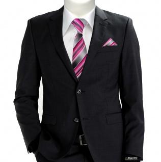 TigerTie Seidenkrawatte + Einstecktuch rosa pink magenta grau silber gestreift - Vorschau 2