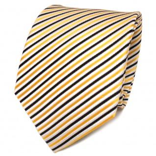 TigerTie Designer Seidenkrawatte gelb schwarz weiß gestreift - Krawatte Seide - Vorschau 1