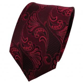 TigerTie Seidenkrawatte rot bordeaux schwarz gemustert - Krawatte Seide