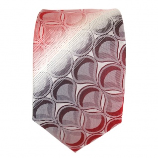 Seidenkrawatte rot weinrot weiss gestreift mit Muster - Krawatte 100% Seide Silk - Vorschau 3