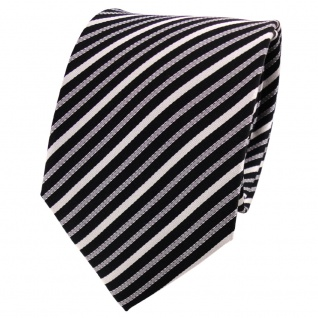 TigerTie Seidenkrawatte silber grau schwarz anthrazit gestreift - Krawatte Tie