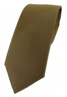 Modische TigerTie Designer Krawatte in dunkles gold fein gepunktet