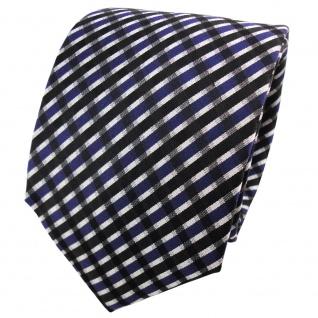 Designer Satin Seidenkrawatte blau schwarz silber gestreift - Krawatte Seide