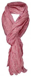 TigerTie gecrashter Seidenschal rosa grau gemustert 100% Seide -Gr. 160 x 50 cm