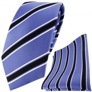 TigerTie Designer Seidenkrawatte +Seideneinstecktuch blau schwarz weiß gestreift