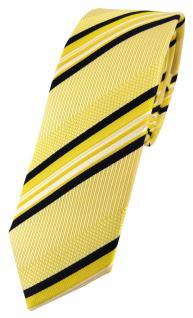 schmale TigerTie Seidenkrawatte gelb weiß schwarz gestreift - 100% Seide Tie