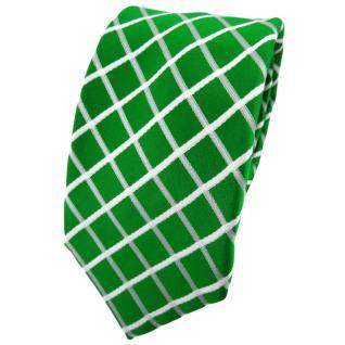 Enrico Sarto Seidenkrawatte grün knallgrün weiß kariert - Krawatte Seide