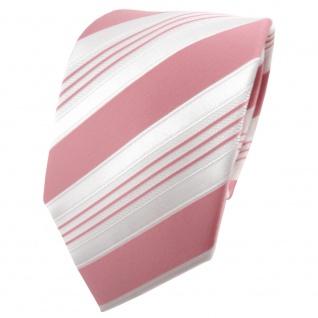 TigerTie Satin Krawatte rosa altrosa weiß silber gestreift - Binder Schlips Tie
