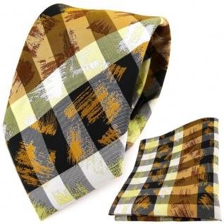 TigerTie Designer Krawatte + Einstecktuch gelb orange grau schwarz gestreift