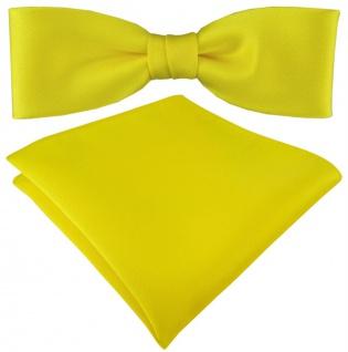 vorgebundete schmale TigerTie Satin Fliege + Einstecktuch in gelb Uni + Box