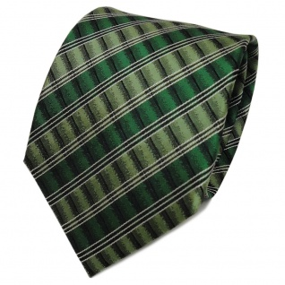 TigerTie Designer Seidenkrawatte grün silber schwarz gestreift - Krawatte Seide