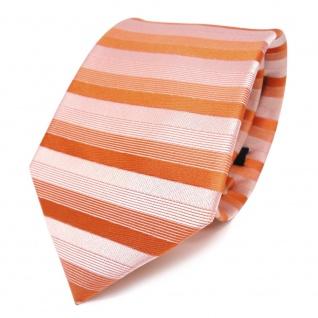 feine Designer Krawatte in rot orange grau gestreift 100% Seide