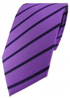 TigerTie Designer Seidenkrawatte lila violett blau gestreift - 100% Seide - Vorschau 1