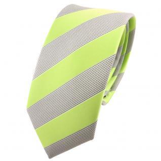 Schmale TigerTie Krawatte hellgrün silbergrau gestreift - Schlips Binder Tie