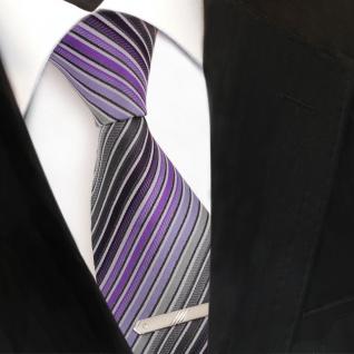 XXL Designer Krawatte lila anthrazit grau silber schwarz gestreift + Krawattennadel