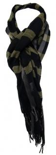 TigerTie Schal schwarz gold silber gestreift mit Fransen - Gr. 180 x 55 cm