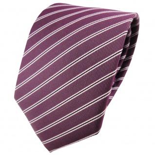 schöne TigerTie Krawatte in pflaume violett silberweiß schwarz gestreift - Vorschau 1