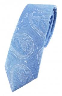 TigerTie - schmale Designer Krawatte in hellblau blau silber Paisley gemustert
