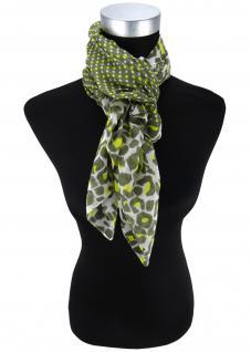 Halstuch in olive gelb grau gemustert und gepunktet - Tuch Größe 100 x 100 cm